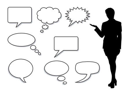 dialog balloon:  illustration of  a  Word and Thought Bubble with a female silhouette