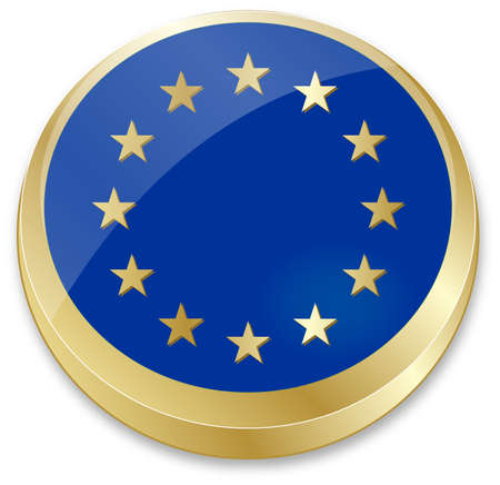 council: vector illustration of flag of European Union in crown cap