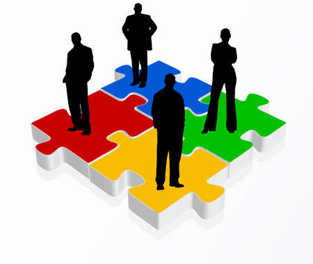 vector illustration of business team in black on puzzles