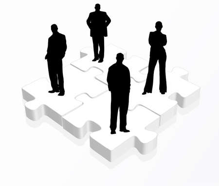 group solution:   illustration of business team in black on puzzles Illustration