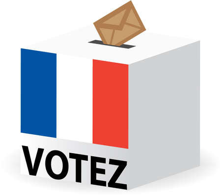 voter: vector illustration of vote poll ballot box for france  french elections