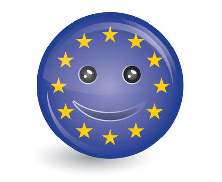 council: vector illustration of flag of European Union in smiling face  Illustration