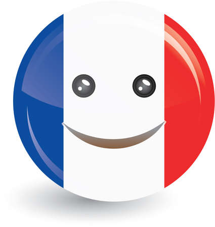 hexagone: vector illustration of flag of France in smiling face