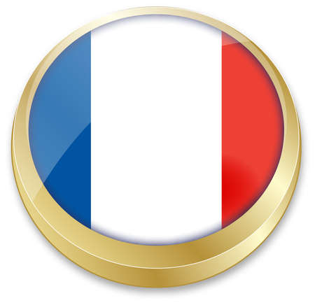 francaise: vector illustration of flag of France in button shape Illustration