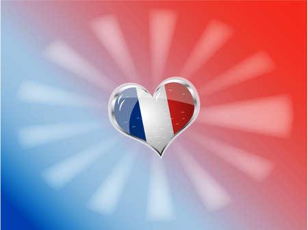 republique:   illustration of flag of France in heart shape Illustration