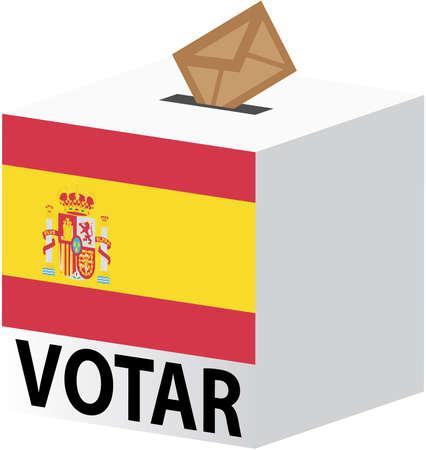 presidental: illustration of  vote poll ballot box for spain elections Illustration