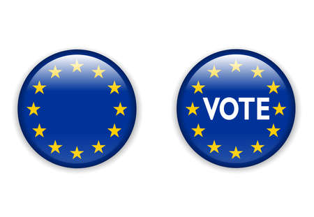 presidental: illustration of  empty vote badge button for European Union elections