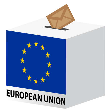 illustration of  vote poll ballot box for European Union elections Stock Vector - 8594842