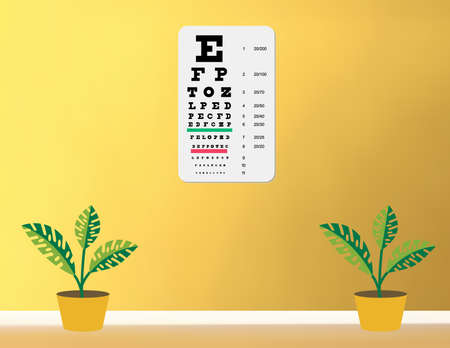 illustration of  a snellen eye chart on yellow wall Stock Vector - 8594856