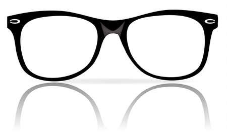 fashion bril: illustratie van zwarte glazen frames wiith schaduw