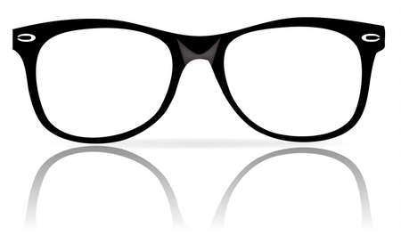 illustration of black glasses frames wiith shadow