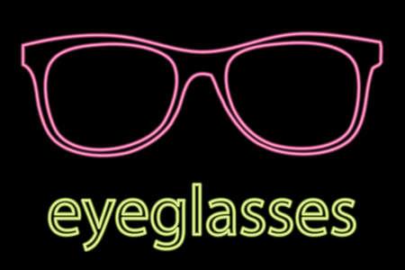 illustration of Neon Eyeglass Symbol On Black Stock Vector - 8594850