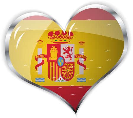 espana: illustration of  flag of Spain in heart shape   Illustration
