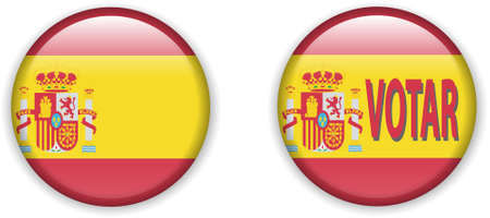 illustration of  flag of Spain in badge shape  Stock Vector - 8594864