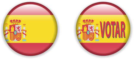 illustration of  flag of Spain in badge shape Stock Vector - 8594864