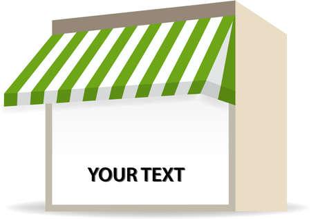 store window: illustratie van Storefront luifel in het groen