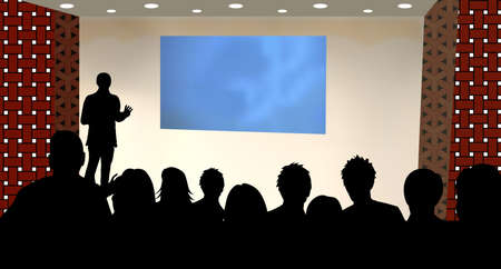 explaining: a person doing a presentation at a business conference or product marketing in front of crowd to audience. add your copy text on blank projection screen.