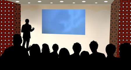 una persona haciendo una presentación en una Conferencia de negocios o un producto de marketing de espectadores a la audiencia. Agregue su texto de copia en la pantalla de proyección en blanco.