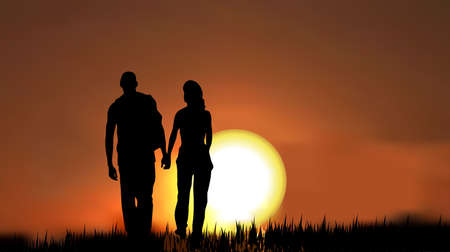 couples as a silhouette, walking on grass in the evening/morning against sunset/sunrise