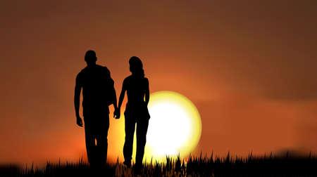 parejas como una silueta, caminando sobre césped en la tarde/mañana contra la puesta de sol/sunrise