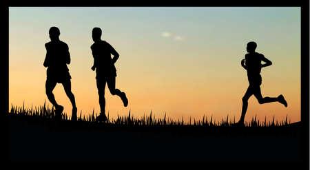 couple lit: Ilustraci�n de personas marchafooting en la puesta de solsunrise