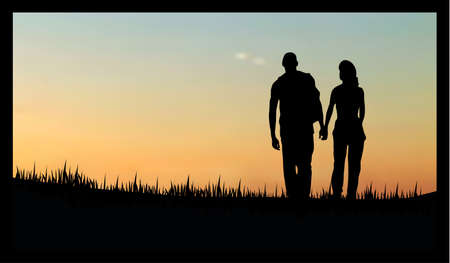 couples as a silhouette, walking on grass in the evening/morning against sunset/sunrise Stock Vector - 8594867