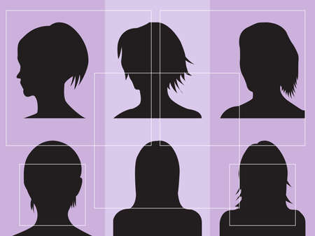 illustration of womens silhouettes with different hairstyles Vector