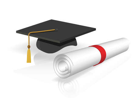 mortar board: a cap and diploma Illustration