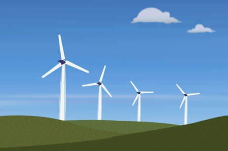 Illustration of  Power Generating Wind Mills against blue sky Stock Vector - 8610644