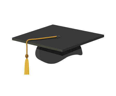 een graduatie dop (mortel board) met tassle Vector Illustratie
