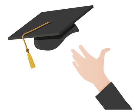 mortar board: A hand tossing a mortarboard (graduation cap) into the air