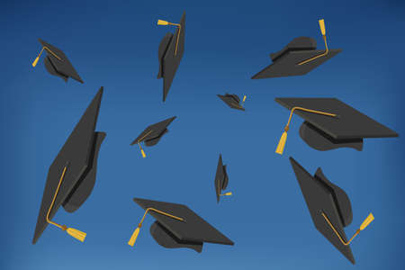 illustration of Graduation Caps Thrown in the Air Vector