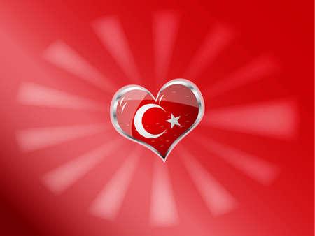 illustration vectorielle du drapeau de la Turquie en forme de c?ur