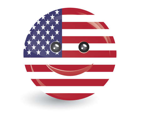 edit valentine: vector illustration of flag of united state of america  in smiling face shape