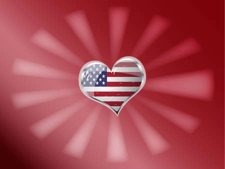 edit valentine: vector illustration of flag of united state of america in heart shape Illustration