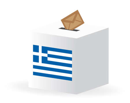 vector illustration of vote poll ballot box for greece, greek elections Vector