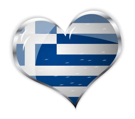 arte greca: illustrazione vettoriale della bandiera della Grecia in forma di cuore Vettoriali