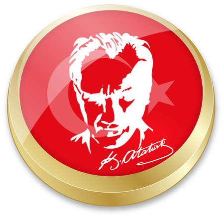 vector illustration of flag of turkey and Ataturk, founder of turkey in button shape