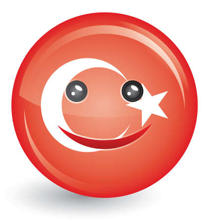 vector illustration of flag of turkey in smiling face shape Stock Vector - 8664379