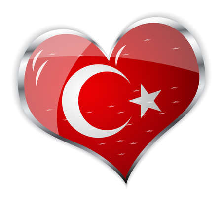 vector illustration of flag of turkey in heart shape