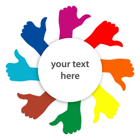 winning team: illustration of thumbs up in various colors around a circle