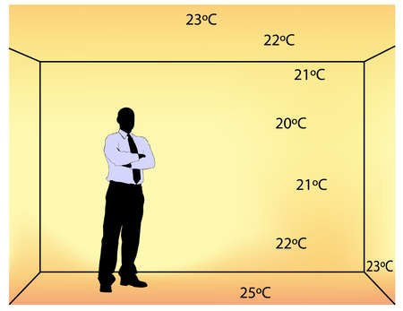 illustration of underfloor indoor heating with temperature degrees in the room   Illustration