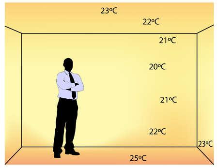 convection: illustrazione di riscaldamento a pavimento di coperta con i gradi di temperatura in camera