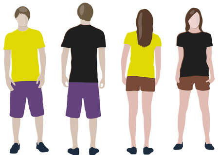t-shirt design templates (front & back) on male and female models Stock Vector - 8742877
