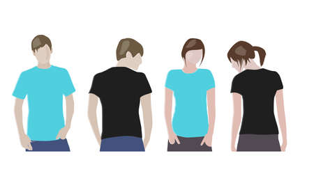 Black, Orange T-shirt design templates (front & back) on male and female models