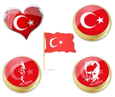 ataturk: illustration of flag of turkey and Ataturk, founder of turkey  Illustration