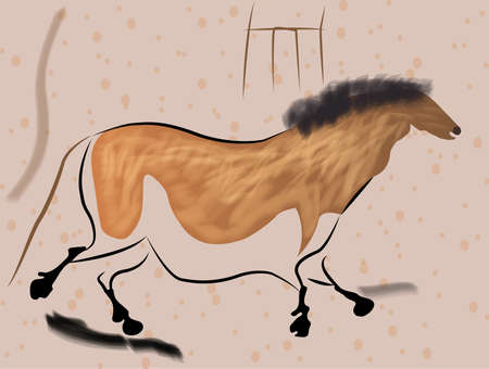 discovered: illustration of prehistoric paintings lascaux cave horse
