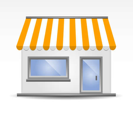 store window: vectorillustratie van Storefront luifel in geel Stock Illustratie