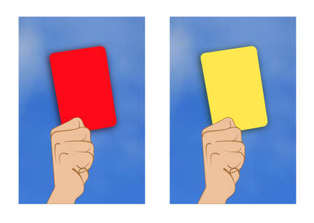 scored: Illustration of yellow card red card rised by hand