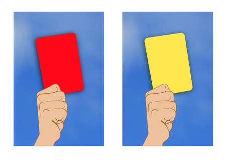 tarjeta amarilla: Ilustraci�n de tarjeta amarilla rojo de tarjeta eleva a mano